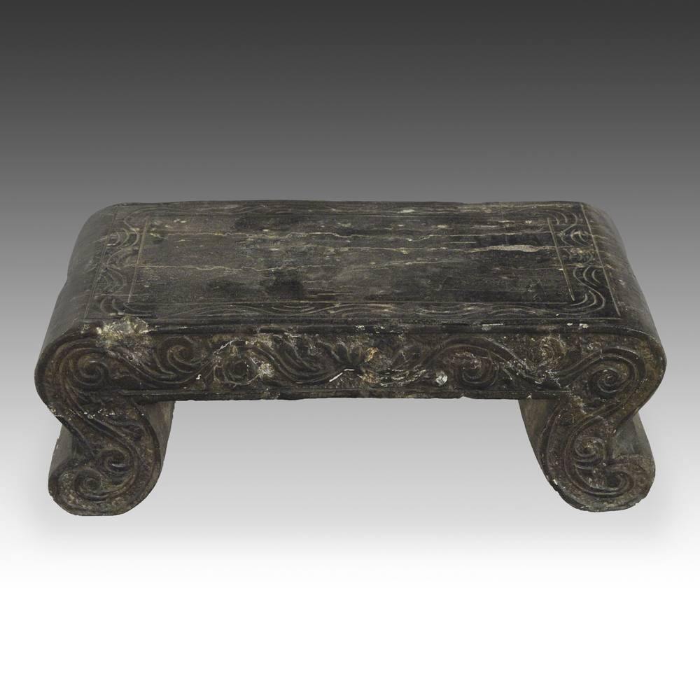 Low Stool with Scroll Motif