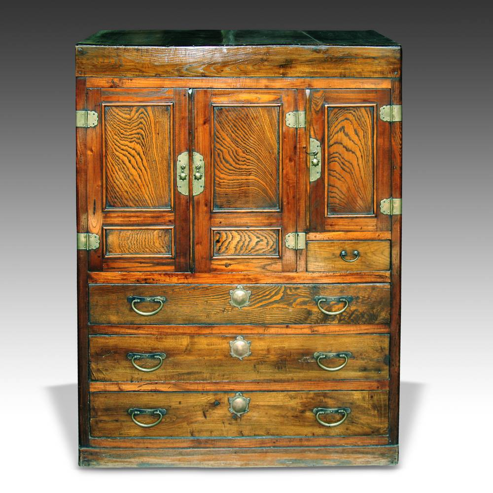4 Drawer / 3 Door Cabinet with Unusual Turtle Hardware