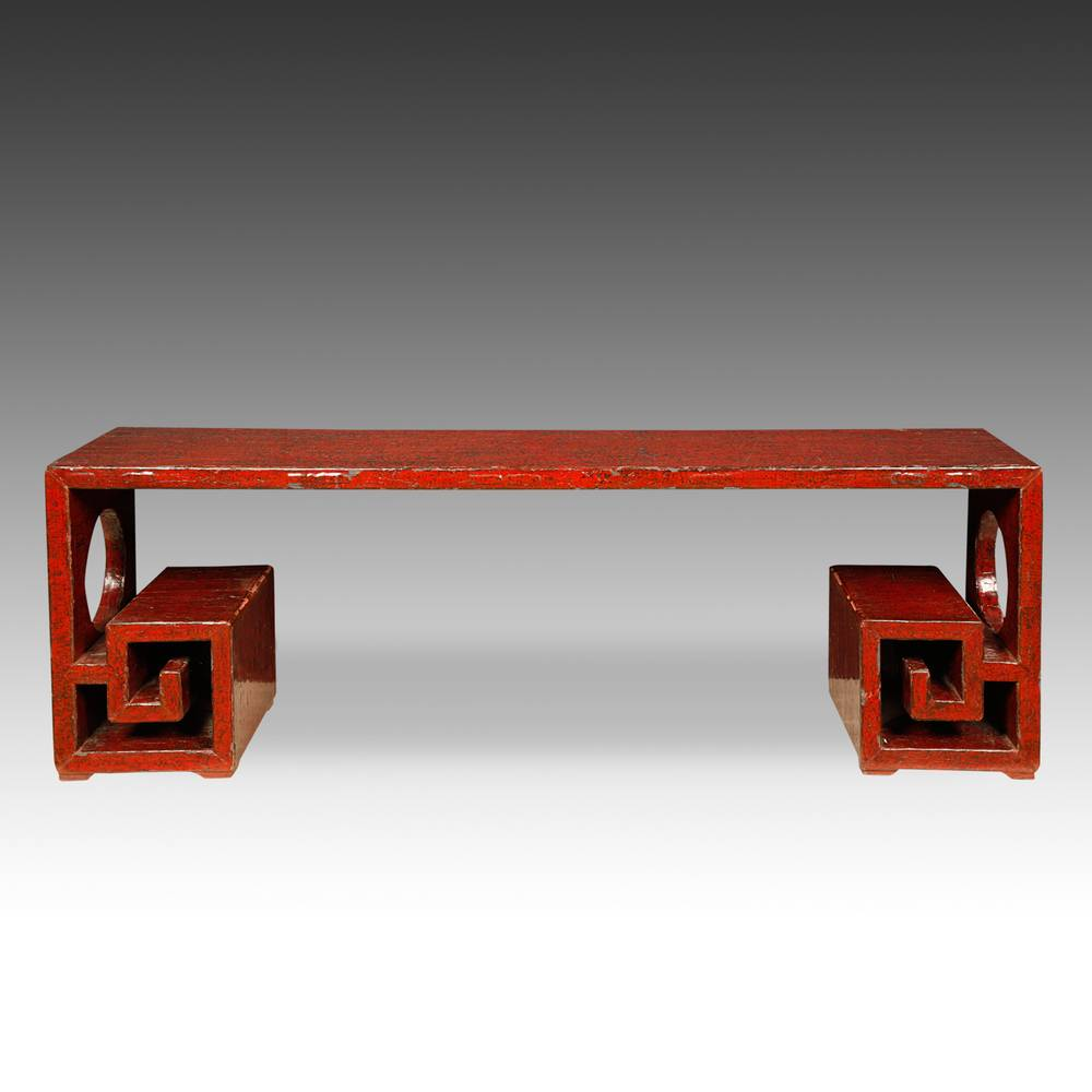 Greek Key Style Bench with Pierced End Panels