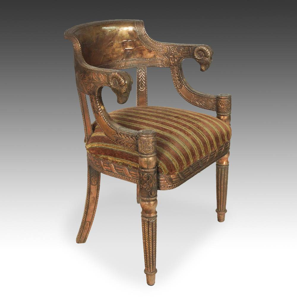 Copper-Clad & Upholstered Armchair with Ramshead Motif