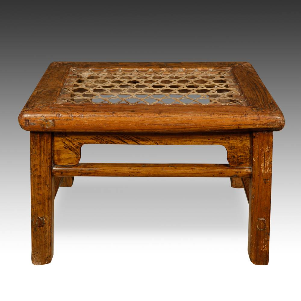 Footstool with Woven Seat