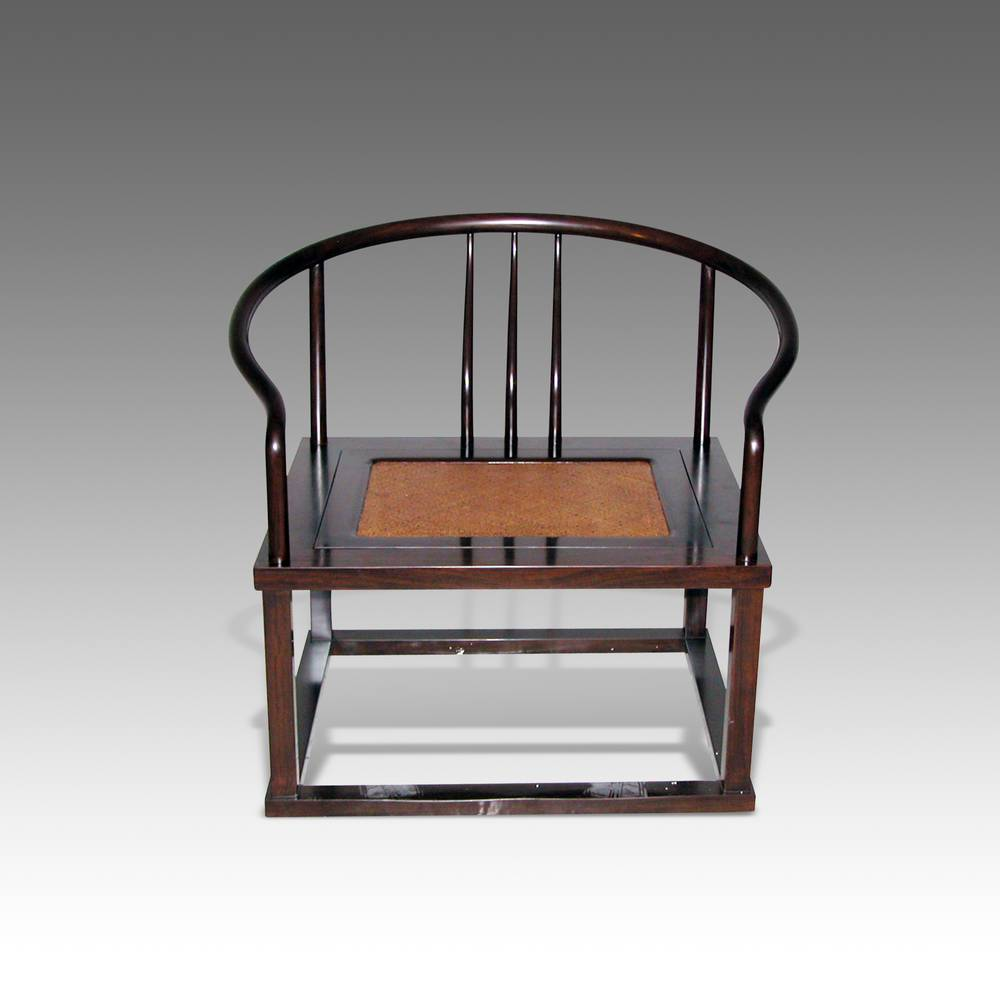 Horseshoe Back Meditation Chair with Rattan Inset