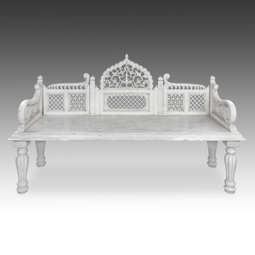 Bench with jali or pierced-work elements