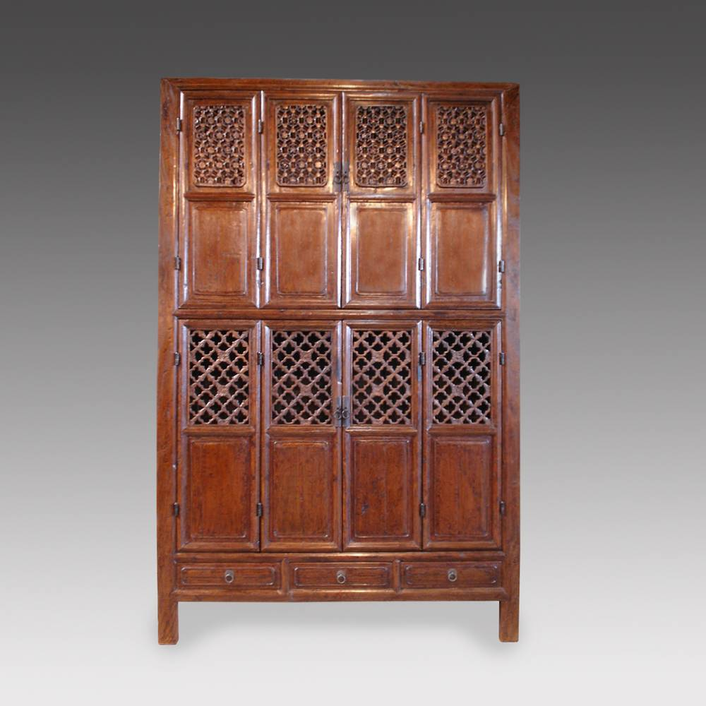 Wardrobe with 3 Drawers & 8 Carved-Lattice Doors