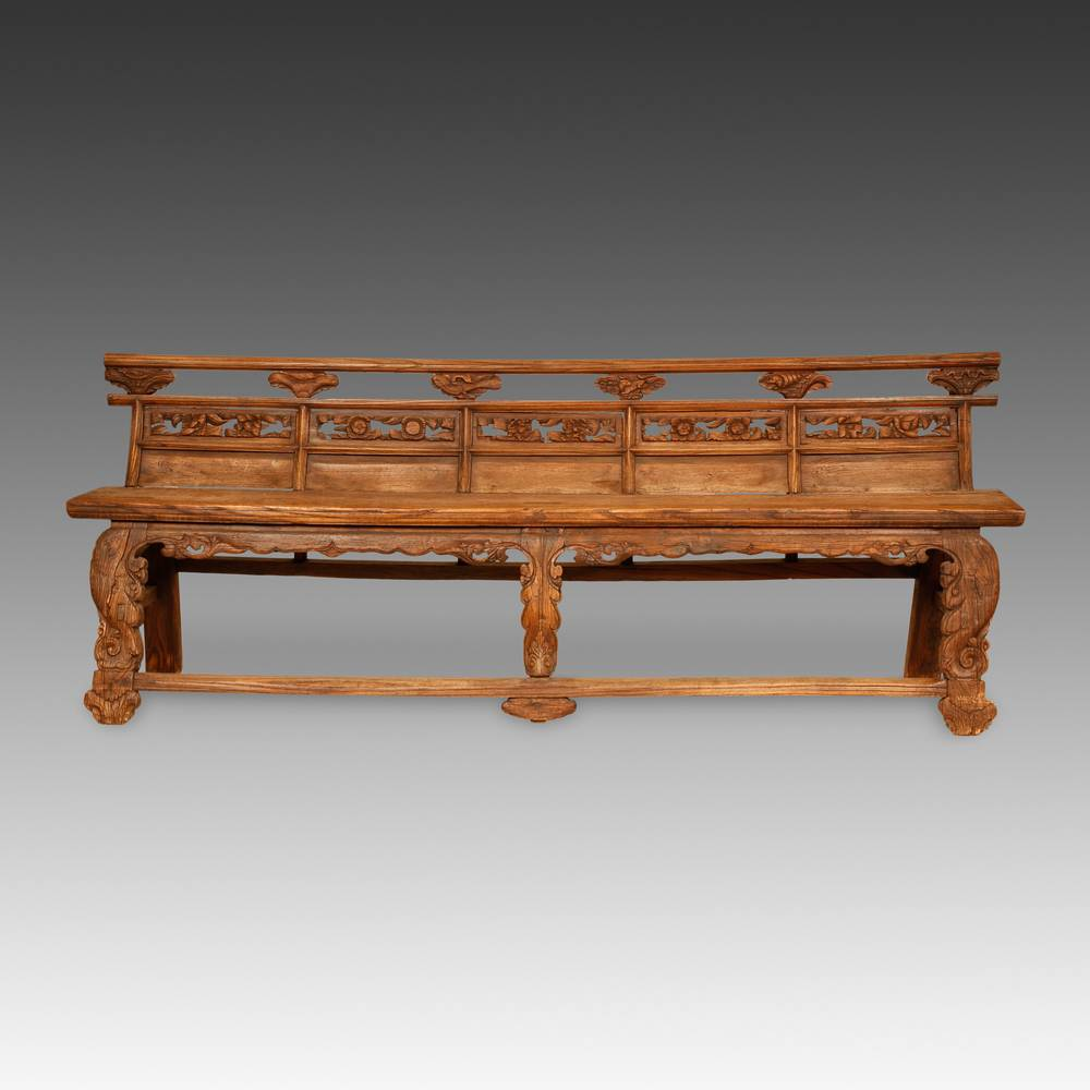 Temple Bench with Carved Back Panel