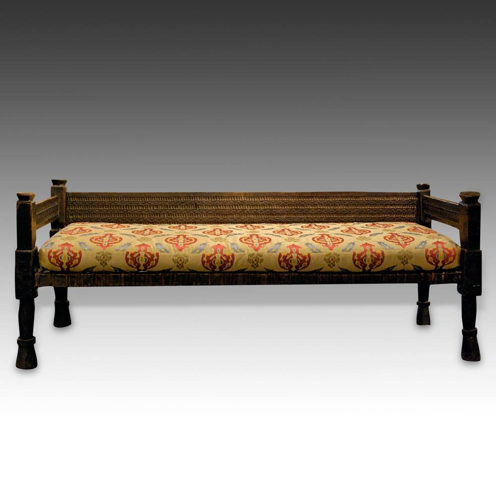 Bench with Plaited Leather Seat & Custom Upholstered Cushion