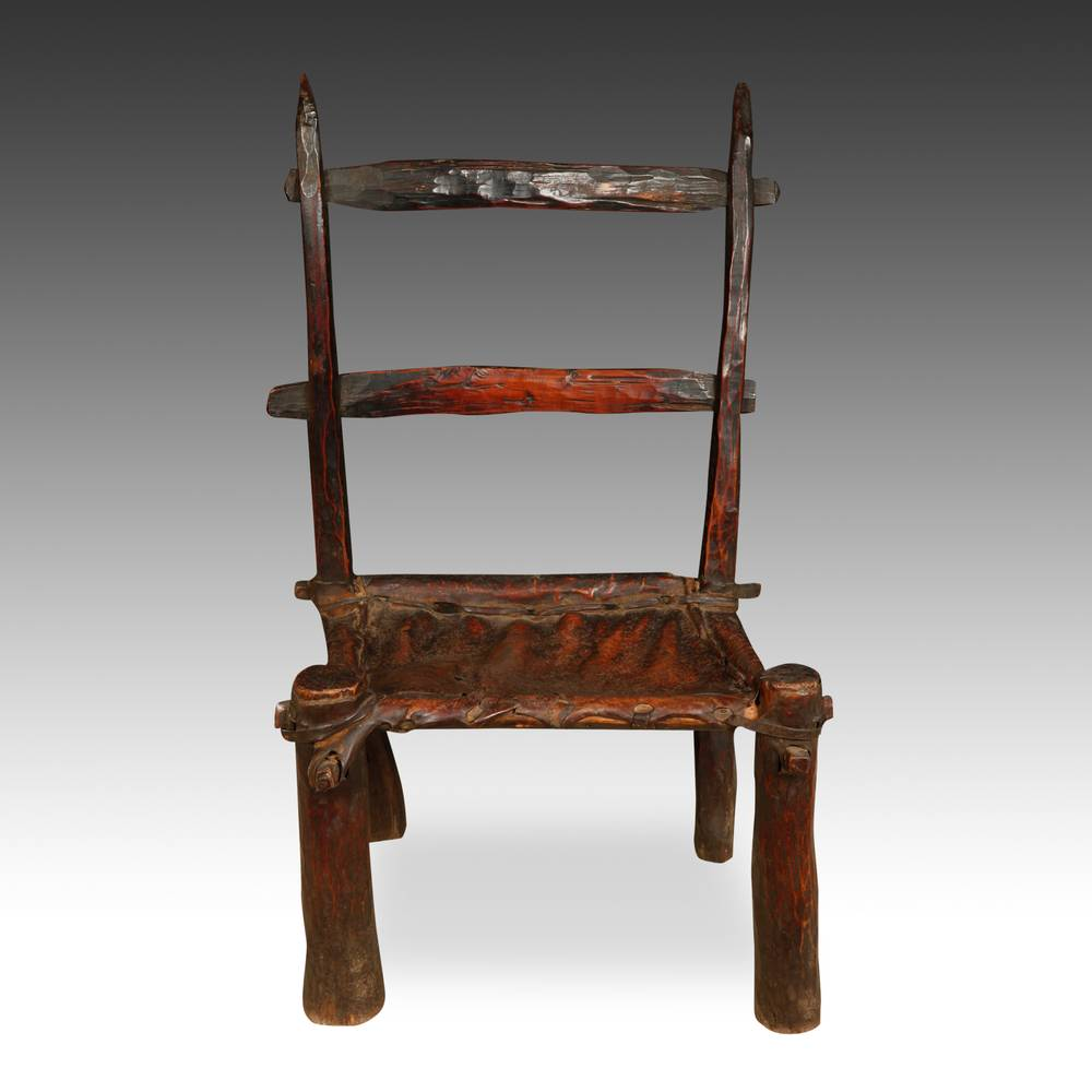 Ladderback Chair with Cowhide Seat