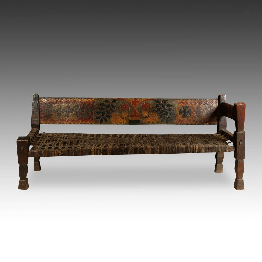 Bench with Plaited Leather Seat