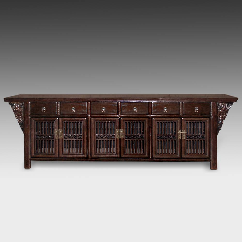 Winged Coffer with 6 Drawers & 6 Louvered Doors