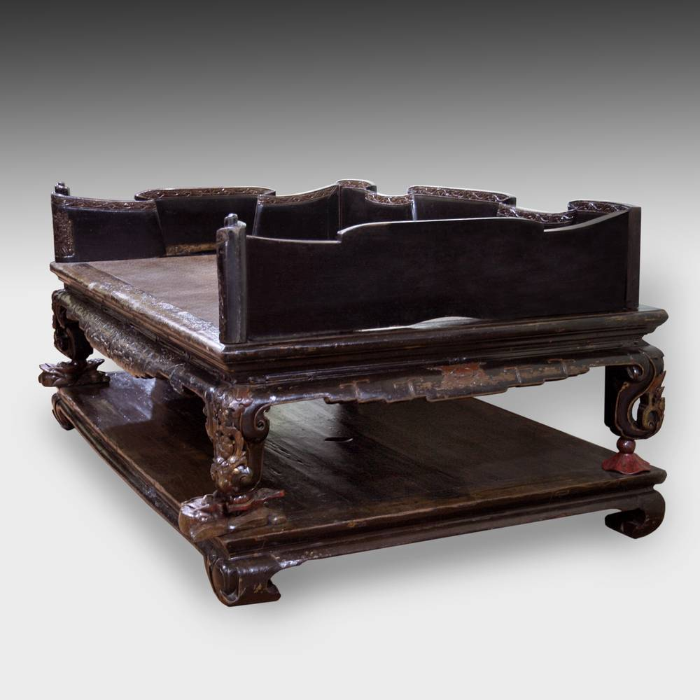 Opium Bed on Platform with Scroll Motif