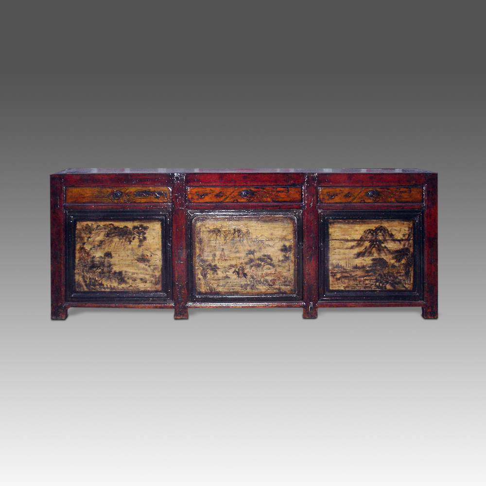 Coffer with 3 Drawers & 3 Doors; Landscape Motif
