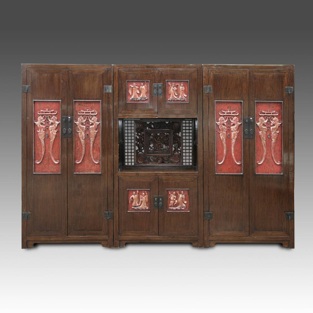 Triple Cabinet Wardrobe with Bas-Relief Panels
