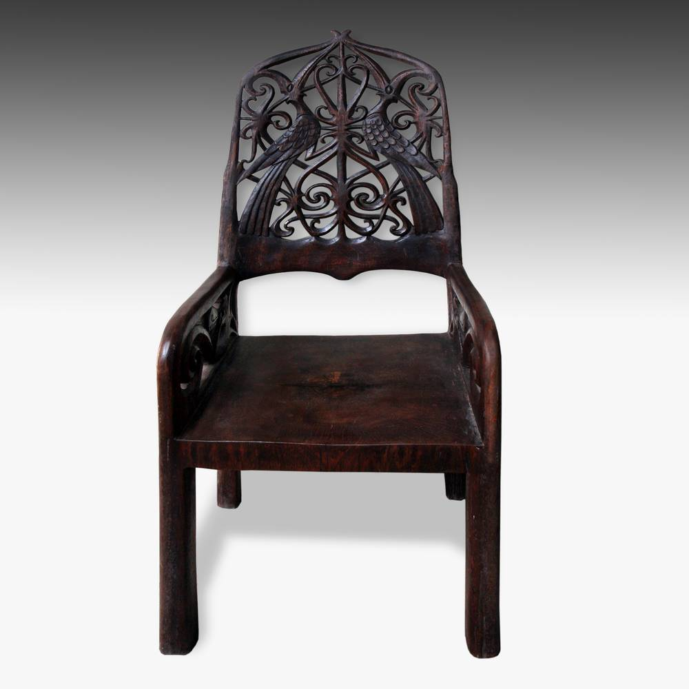 Throne Chair with Hornbill Motifs