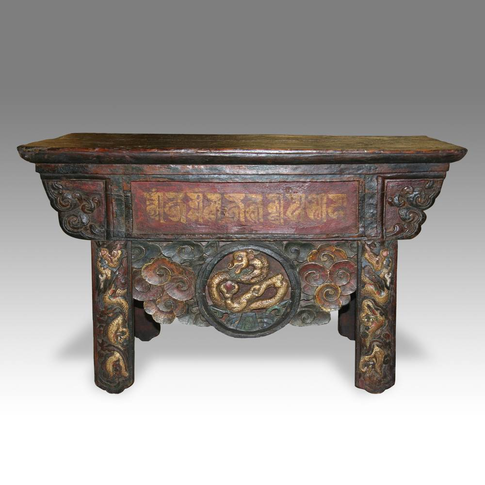 Monk's Writing Table with Om Mane Padme Hum Motif