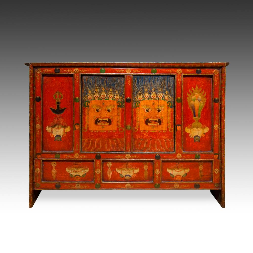 Cabinet with 2 Doors & Mahakala Motif
