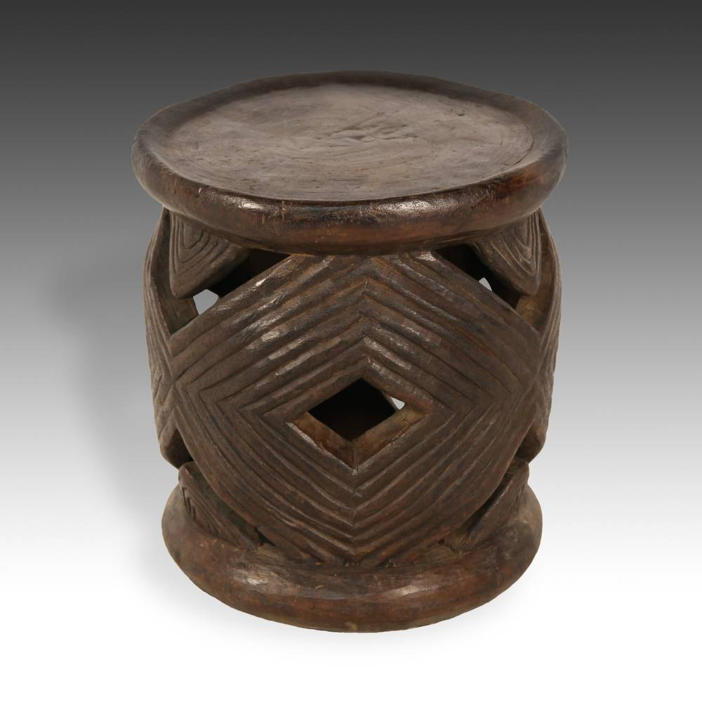 Stool with Geometric Motif