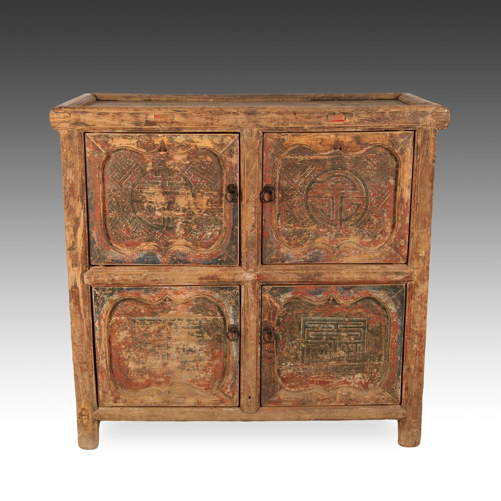 Cabinet with 4 Doors & Double Happiness Motif