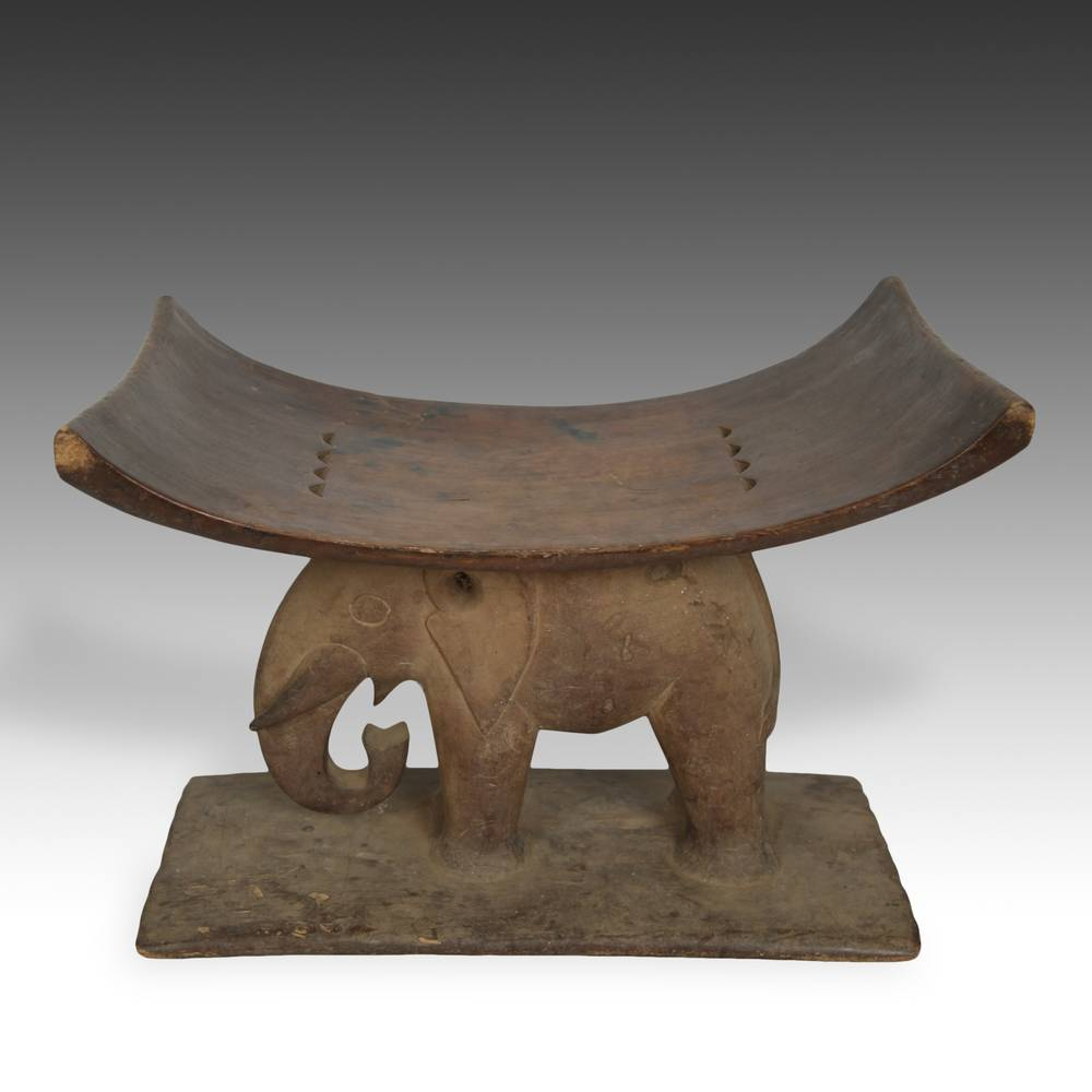 Stool with Elephant Motif