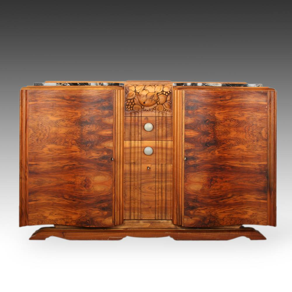 Art Deco Carved Console Cabinet with 3 Doors and 2 Drawers