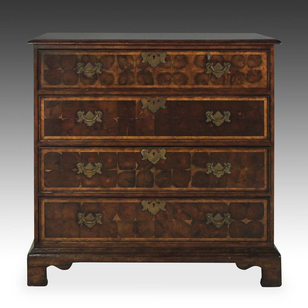 Continental Style Dresser with 4 Drawers, End-Grain Mosaic Veneer Pattern, & Composite Stone Top