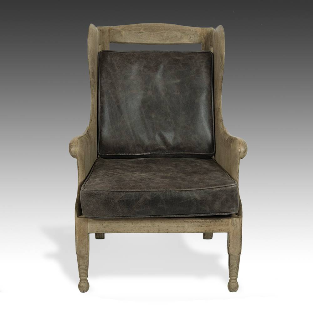 Swedish  Style Wood Wingback Chair