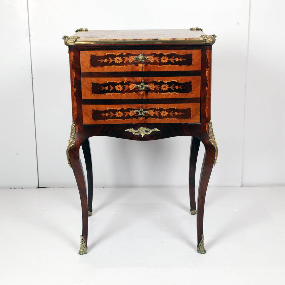 French 19th C Louis XV Marquetry Bar Cabinet with Cabriolet Legs and Wraparound Foliate Ormolu Sabots. 3 Flap Down Doors with Mirrored Interior and Marble Top