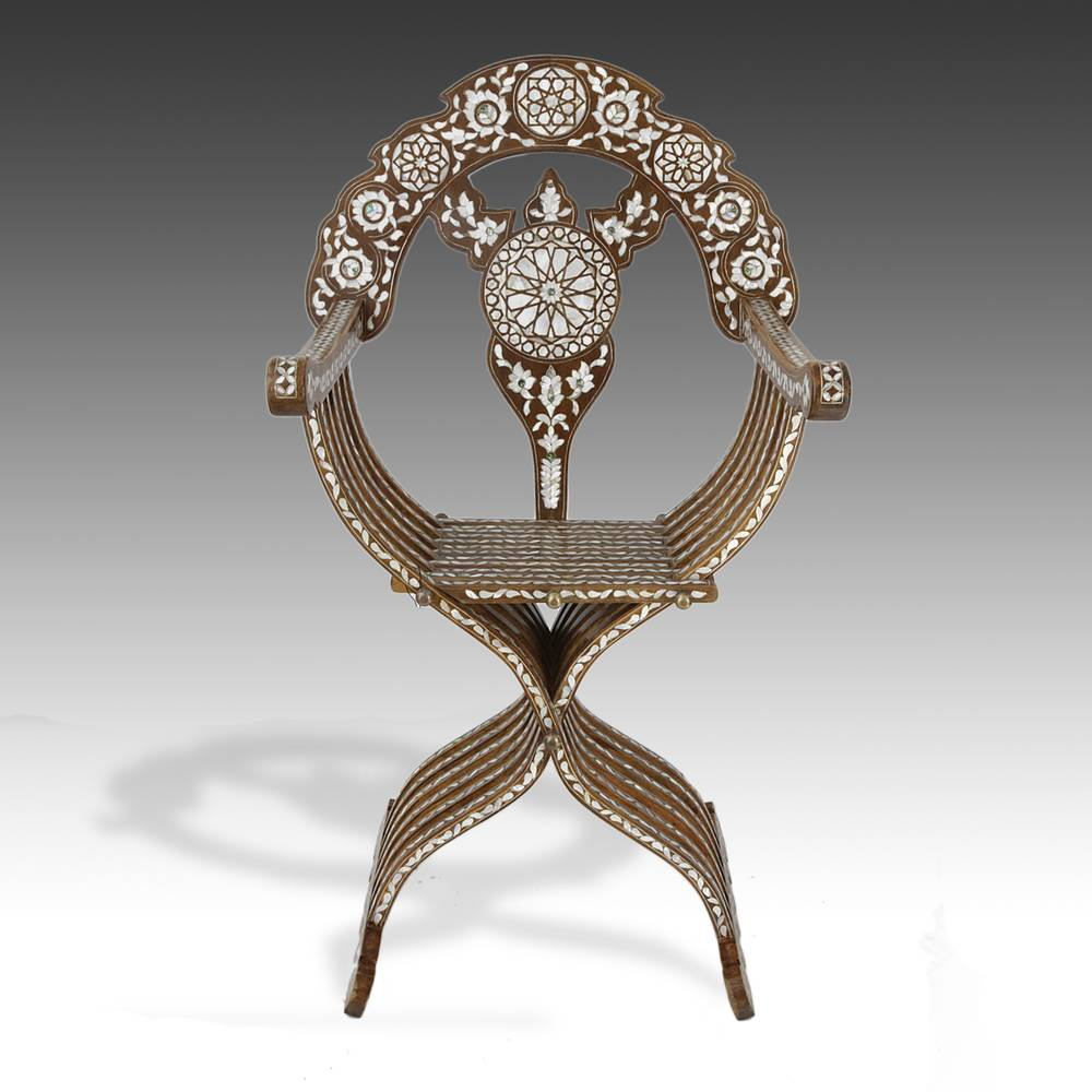 Savonarola Chair w / Mother-of-Pearl Inlay and Brass Pins