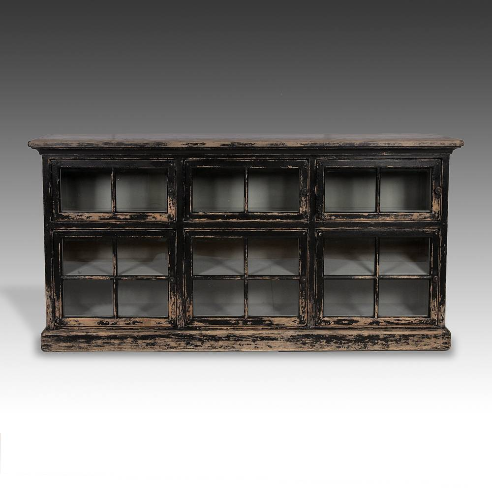 Low Bookcase with Beveled Glass Doors
